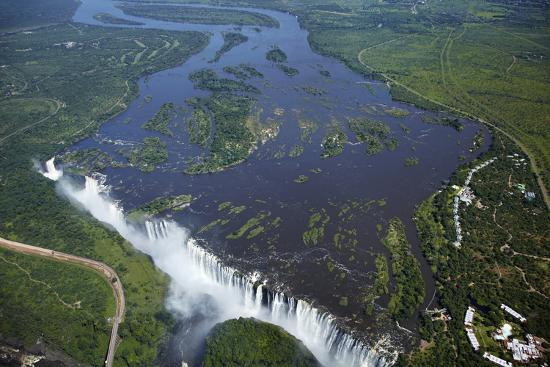 Victoria Falls and Zambezi River, Zimbabwe/Zambia border-David Wall-Photographic Print