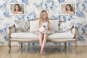 3 Little Girls and a White Rabbit by Victoria Ivanova