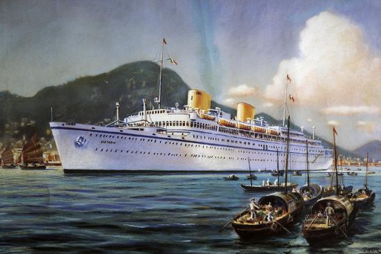 Victoria Motor Ship in Hong Kong Harbor, Pastel on Paper, by Paul Klodic, 20th Century--Giclee Print
