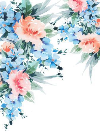 Blue Orange Blossom Bouquet Watercolor