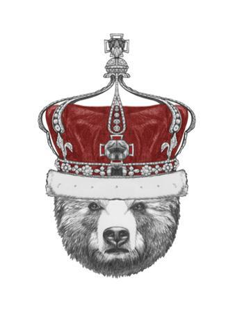 Original Drawing of Bear with Crown. Isolated on White Background by victoria_novak