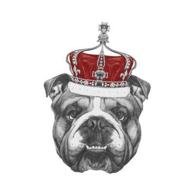 Original Drawing of English Bulldog with Crown. Isolated on Colored Background by victoria_novak