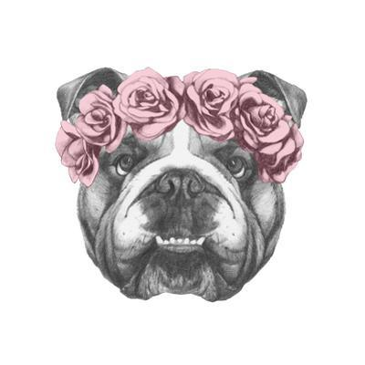 Original Drawing of English Bulldog with Floral Head Wreath. Isolated on White Background. by victoria_novak