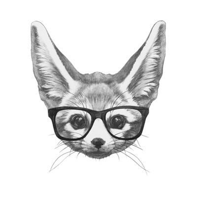 Original Drawing of Fennec Fox with Glasses. Isolated on White Background by victoria_novak