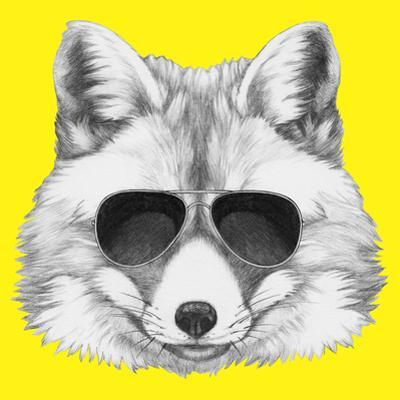 Original Drawing of Fox with Sunglasses. Isolated on Colored Background. by victoria_novak
