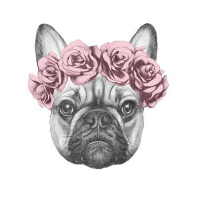 Original Drawing of French Bulldog with Roses. Isolated on White Background by victoria_novak