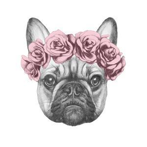9ca7a7932e6 Original Drawing of French Bulldog with Roses. Isolated on White Background