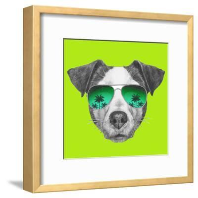 Original Drawing of Jack Russell with Mirror Sunglasses. Isolated on White Background