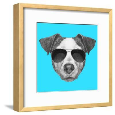 Original Drawing of Jack Russell with Sunglasses. Isolated on Colored Background