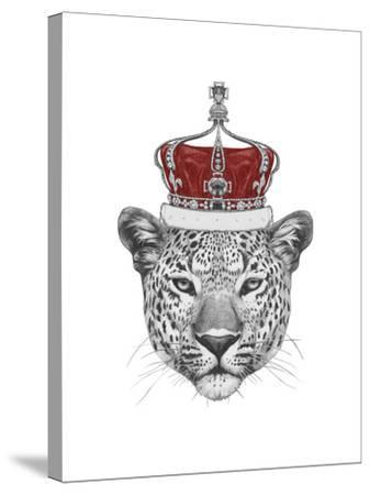 Original Drawing of Leopard with Crown. Isolated on White Background