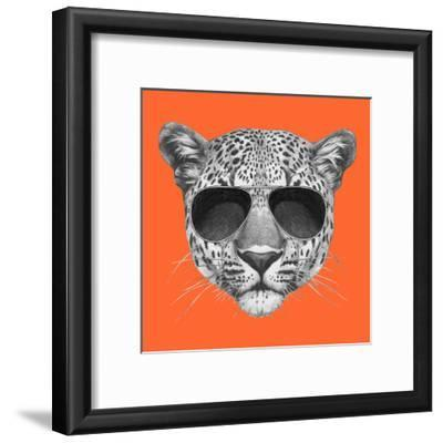 Original Drawing of Leopard with Sunglasses. Isolated on Colored Background