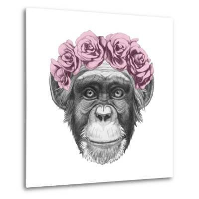 Original Drawing of Monkey with Floral Head Wreath. Isolated on White Background.