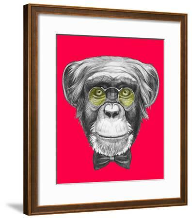 Original Drawing of Monkey with Glasses and Bow Tie. Isolated on Colored Background.