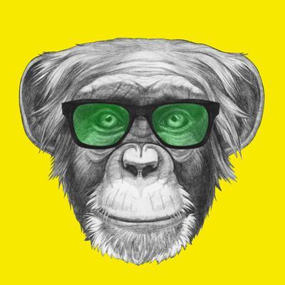 Original Drawing of Monkey with Glasses. Isolated on Colored Background. by victoria_novak