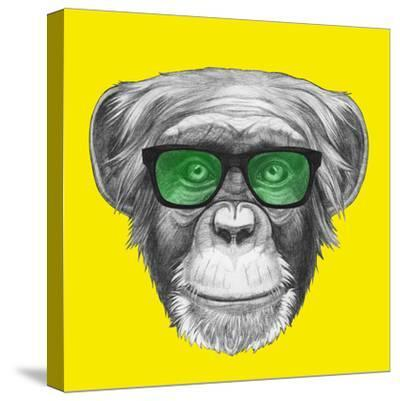 Original Drawing of Monkey with Glasses. Isolated on Colored Background.
