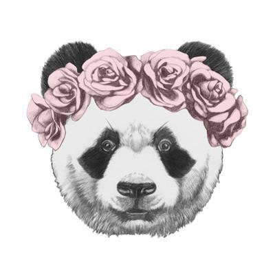 Original Drawing of Panda with Roses. Isolated on White Background by victoria_novak