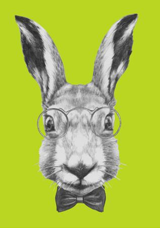 Original Drawing of Rabbit with Glasses and Bow Tie. Isolated on Colored Background by victoria_novak