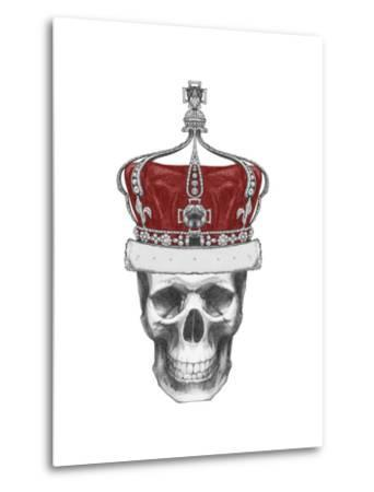 Original Drawing of Skull with Crown. Isolated on White Background