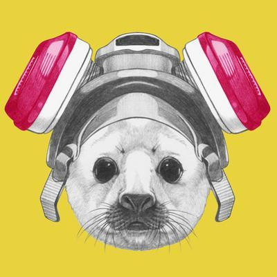 Portrait of Baby Fur Seal with Gas Mask. Hand Drawn Illustration.