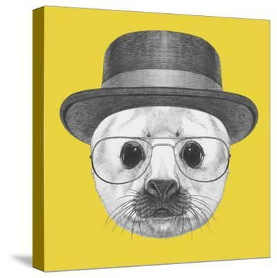 Portrait of Baby Fur Seal with Hat and Glasses. Hand Drawn Illustration.