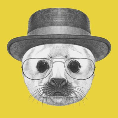 Portrait of Baby Fur Seal with Hat and Glasses. Hand Drawn Illustration. by victoria_novak