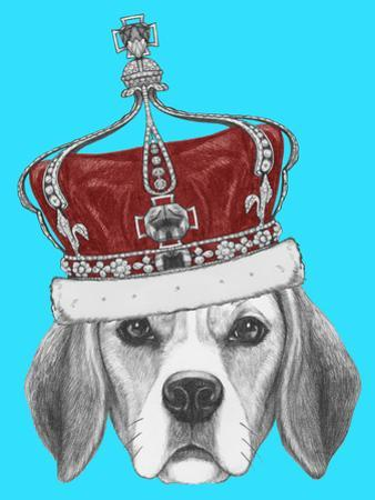 Portrait of Beagle Dog with Crown. Hand Drawn Illustration. by victoria_novak