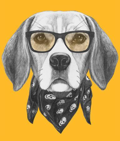 Portrait of Beagle Dog with Glasses and Scarf. Hand Drawn Illustration. by victoria_novak
