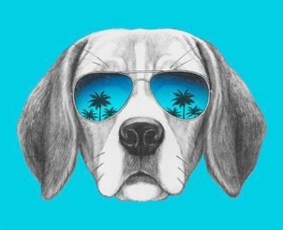 Portrait of Beagle Dog with Mirror Sunglasses. Hand Drawn Illustration. by victoria_novak