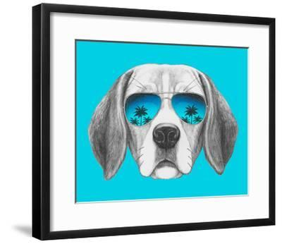 Portrait of Beagle Dog with Mirror Sunglasses. Hand Drawn Illustration.