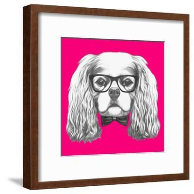 Portrait of Cavalier King Charles Spaniel with Glasses and Bow Tie. Hand Drawn Illustration.