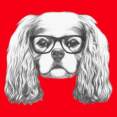 Portrait of Cavalier King Charles Spaniel with Glasses. Hand Drawn Illustration. by victoria_novak