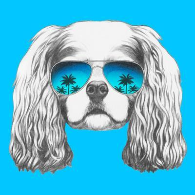 Portrait of Cavalier King Charles Spaniel with Mirror Sunglasses. Hand Drawn Illustration. by victoria_novak