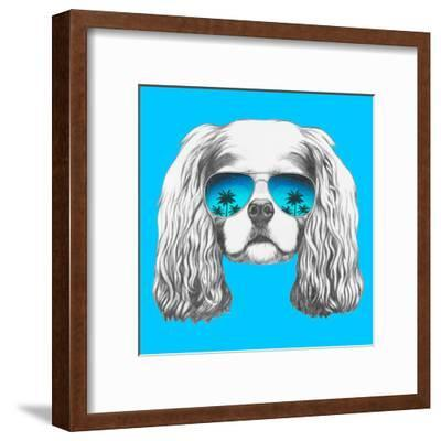 Portrait of Cavalier King Charles Spaniel with Mirror Sunglasses. Hand Drawn Illustration.