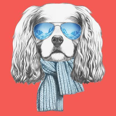 Portrait of Cavalier King Charles Spaniel with Scarf and Sunglasses. Hand Drawn Illustration. by victoria_novak