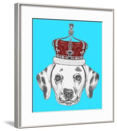 Portrait of Dalmatian Dog with Crown. Hand Drawn Illustration.