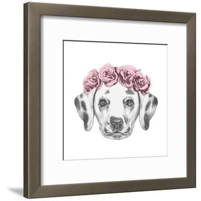 Portrait of Dalmatian Dog with Floral Head Wreath. Hand Drawn Illustration.