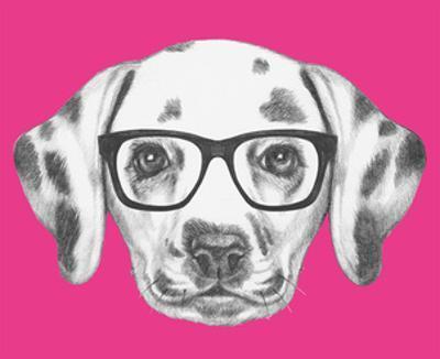 Portrait of Dalmatian Dog with Glasses. Hand Drawn Illustration. by victoria_novak