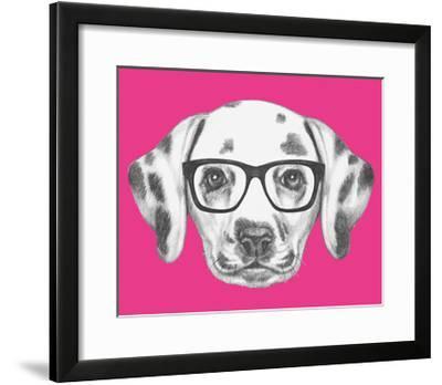 Portrait of Dalmatian Dog with Glasses. Hand Drawn Illustration.