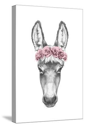 Portrait of Donkey with Floral Head Wreath. Hand Drawn Illustration