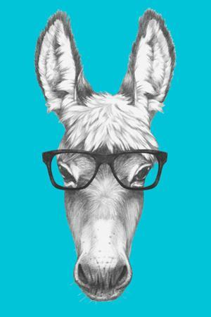 Portrait of Donkey with Glasses. Hand Drawn Illustration. by victoria_novak