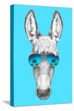 Portrait of Donkey with Mirror Sunglasses. Hand Drawn Illustration.