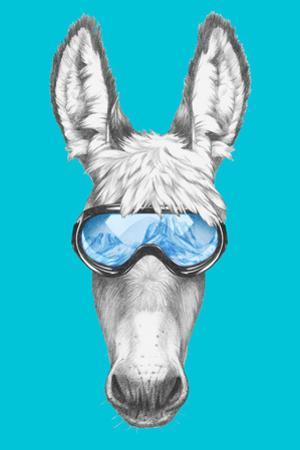 Portrait of Donkey with Ski Goggles. Hand Drawn Illustration. by victoria_novak