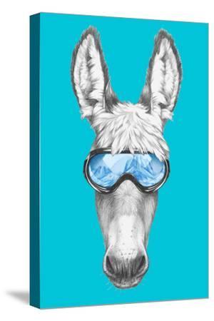 Portrait of Donkey with Ski Goggles. Hand Drawn Illustration.