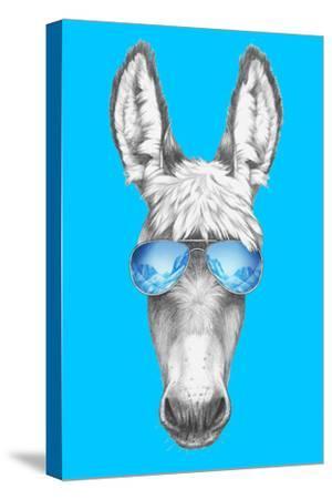 Portrait of Donkey with Sunglasses. Hand Drawn Illustration.
