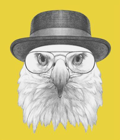Portrait of Eagle with Hat and Glasses. Hand Drawn Illustration. by victoria_novak