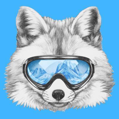 Portrait of Fox with Ski Goggles. Hand Drawn Illustration. by victoria_novak