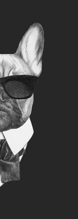 Portrait of French Bulldog in Suit. Hand Drawn Illustration. by victoria_novak