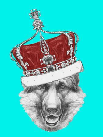Portrait of German Shepherd with Crown. Hand Drawn Illustration.