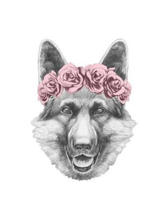Portrait of German Shepherd with Floral Head Wreath. Hand Drawn Illustration.
