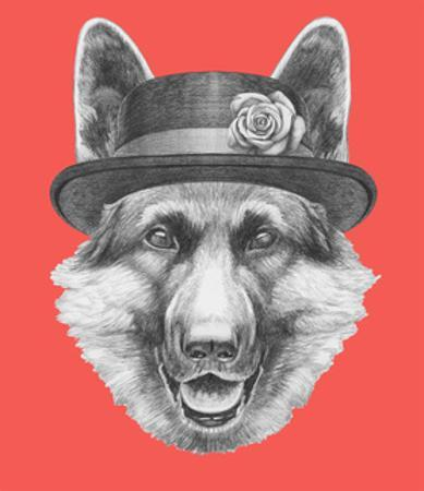 Portrait of German Shepherd with Hat. Hand Drawn Illustration.